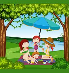 People picnic at the lake vector