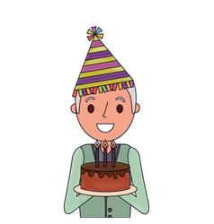 Portrait older man grandpa holding birthday cake vector