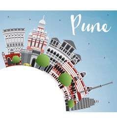 Pune Skyline with Color Buildings Blue Sky vector image