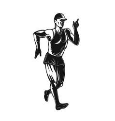 race walking side scratchboard vector image