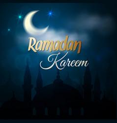 ramadan kareem greeting card - islamic mosque vector image vector image