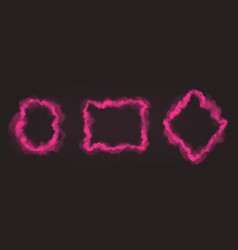 realistic set pink smoke frames vector image