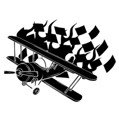 retro flat looking plane and emblem with wings vector image