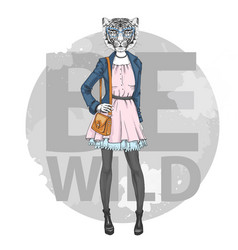 Retro hipster fashion animal tiger woman model vector