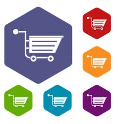 Sale shopping cart icons set hexagon vector