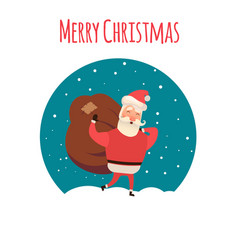 santa claus carrying sack full of gifts xmas time vector image