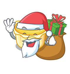 Santa with gift egg tart mascot cartoon vector
