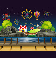 scene background design with fireworks at the vector image