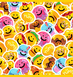 seamless pattern emoji fast food smile vector image