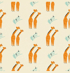 seamless pattern with cute giraffes listening to vector image