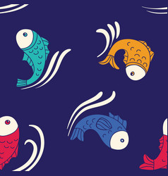 seamless pattern with decorative fishes vector image