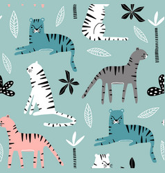 seamless pattern with tigers palm branch and vector image