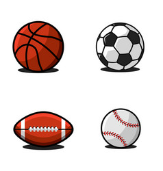 set balls for football or soccer basketball vector image