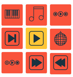 Set of 9 audio icons includes start song vector