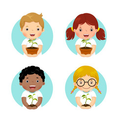 set of kids holding young plant vector image