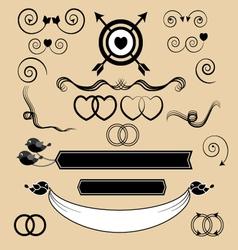 set vintage wedding invitation design elements vector image