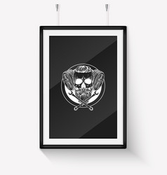 Sketch racer skull with helmet vector