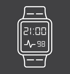 Smart watch line icon gadget and device vector