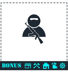 Soldier icon flat vector image