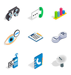 Sophisticated technology icons set isometric vector