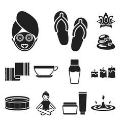 spa salon and equipment black icons in set vector image