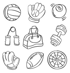 Sport equipment hand draw style doodles vector