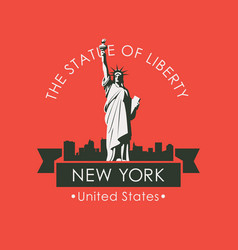 statue liberty in backdrop new york skyline vector image