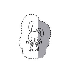 Sticker of grayscale contour of rabbit vector
