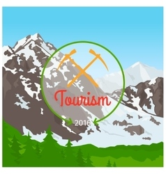 Summer camp concept with mountain vector image