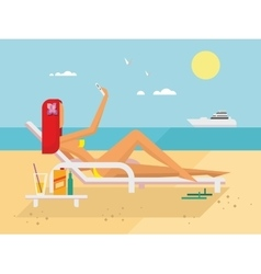 Sunbathing Girl on the Beach Doing Selfie vector image