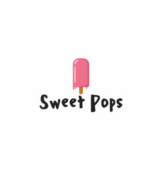 Sweet pink popsicle ice cream logo sign icon vector