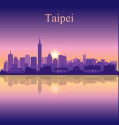 Taipei city silhouette on sunset background vector