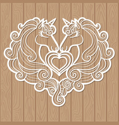 template for laser cutting two unicorns and a vector image