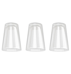 Three water glasses isolated on white background vector