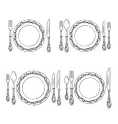 variations cutlery arrangement set vector image