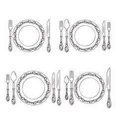 variations of cutlery arrangement set vector image