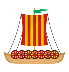 viking ship icon flat style vector image