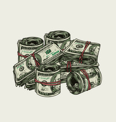 Vintage colorful money concept vector