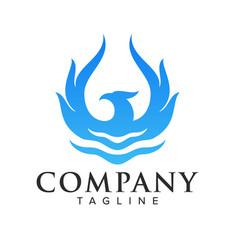 Water phoenix logo vector
