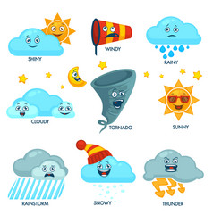 Weather forecast elements with faces and signs set vector