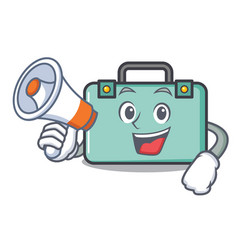 With megaphone suitcase character cartoon style vector