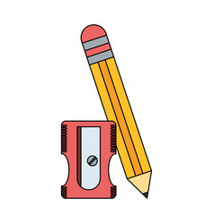 wooden pencil with sharpener vector image