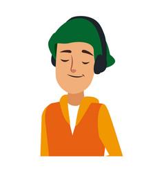 Young man wearing earphones listen music vector