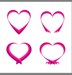 set of pink abstract hearts vector image