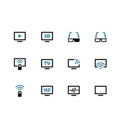 TV duotone icons on white background vector image vector image