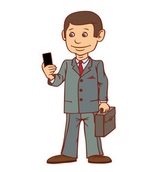 A businessman is standing with a phone in his hand vector