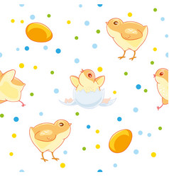 easter seamless pattern with cute chickens and vector image