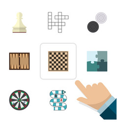 flat icon games set of chequer jigsaw dice and vector image vector image