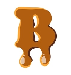 Letter B from caramel icon vector image vector image