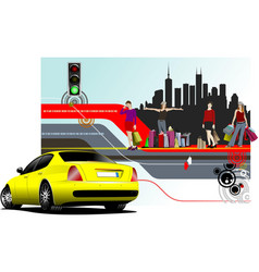 abstract shopping background with car image vector image